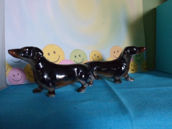 Doxie Wiener Dog Vintage Dachshund Salt and Pepper Shakers
