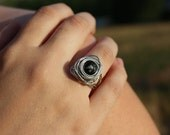 Wire Wrapped Ring - Birds Nest - Snowflake Obsidian and Silver Wire