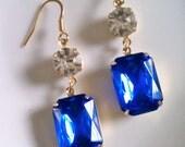 Vintage Royal Blue Crystal Statement Earrings