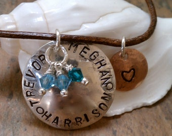 Mother - Grandmother Necklace with Heart-Sterling Silver-Copper-Leather Cord-Casual Mommy Necklace-hand stamped-child-birthstone necklace