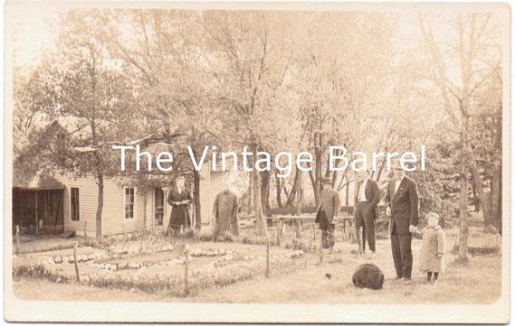 Vintage Photo House Rose Rock Garden RPPC 1910 Real Photo Postcard