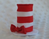 Mini Hat Hair Clip inspired by Cat in the Hat by Dr. Seuss:  red and white stripes with red ribbon bow