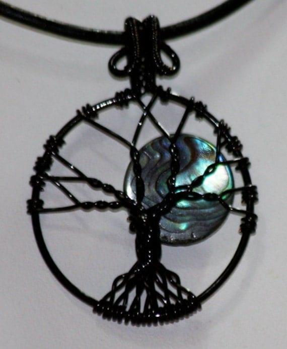 Paua Shell Moon Tree of Life Wire Wrapped Pendant