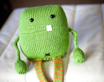 Hand knit Stuffed Monster: Toothy Joe the Amigurumi Monster