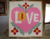 Vintage 1971 STITCHED wall hanging art HEART LOVE hippie bohemian