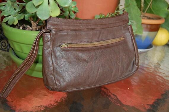 Vintage 1980's small leather CLUTCH handbag purse bag WRISTLET man bag unisex