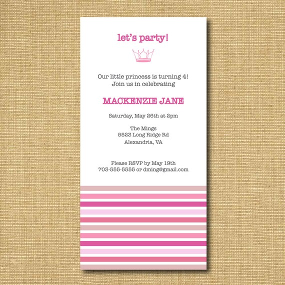 Your Little Princess: Striped Girl Birthday Party Printable Invitation