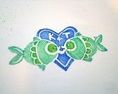 Kissing Fish Stamp Wedding Engagement Personalized Bride Groom Housewarming Bridal Shower Gift Beach Fishing