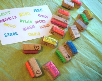 Personalized Name Stamp Neon Rainbow Birthday Party Favors Hand Carved Easter Basket Wedding Stocking Stuffer Kids Special Occasions