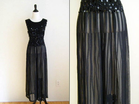 Vintage 1980's Black Sheer Pleated Palazzo Pants - Size M