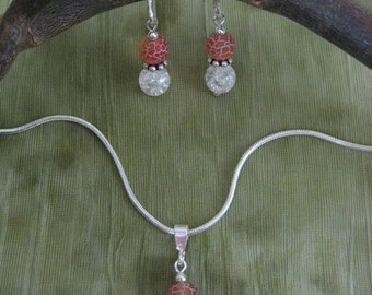 Necklace and Earrings Set - Carnelian Jewelry - Etched Carnelian, Crackled Quartz, and Sterling Silver - Modern Jewelry by Jyoti McCall