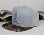 Custom Houston Oilers Strapback -- Hand Painted Python, Ivory Suede
