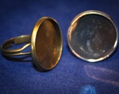 50% off  12 Round Ring bases Only 20 mm adjustable setting antique Bronze or shiny silver Jewelry making findings
