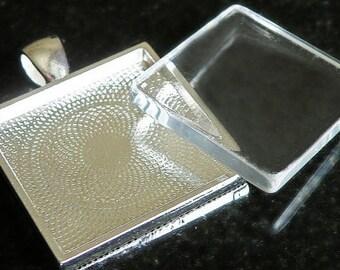 12 DIY photo charm kits - 1 inch Pendant Trays and glass cabochons - bezel settings - lead free