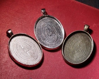12 Jewelry making Oval blank Pendants (22 mm x 30 mm)  Bezel Silver,  Antique Bronze for setting for glass,  photos or resin art DIY