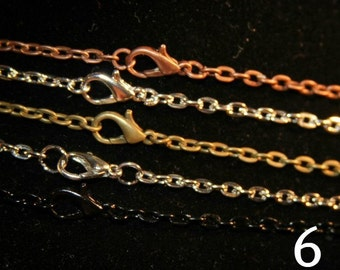 Necklace Chain 24 inch Rolo (3 mm wide) Bronze,  Antique Silver, Copper or Black - GREAT Quality FREE Shipping offer in US