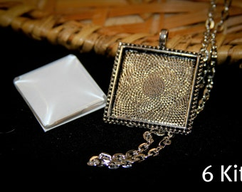 6 DIY Necklace making KITS Square beaded edged 1 inch Pendant  - Includes 6 Pendants, 6 Matching glass and 6 Necklaces - Kids Craft
