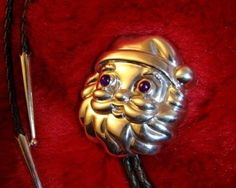 PsychoBilly Santa Bolo Tie...OOAK bolo tie of handmade Sterling Silver set with deep purple Amethyst cabochons for eyes