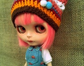 Multicolored crochet hat for Blythe