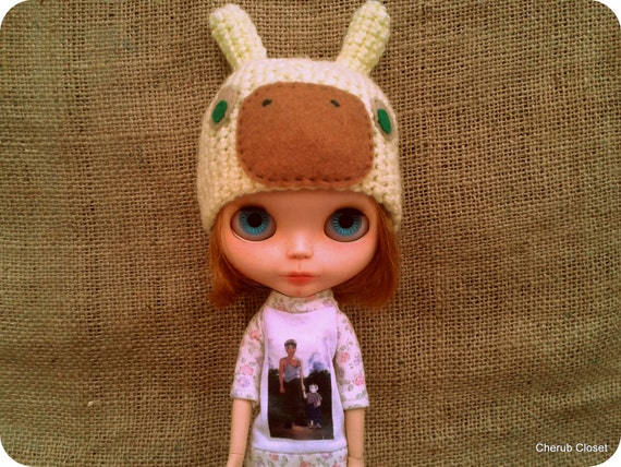 """Blythe Hat. Snail crochet  hat for Blythe. 20% OFF. Use coupon code """"LOVINGCHERUB20"""" at check-out."""