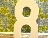 12inch wooden photography prop numbers, the number 8, white