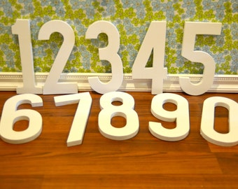 12inch wooden photography prop numbers, set of 10 painted white
