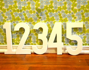 12inch wooden photography prop numbers, set of 5, white
