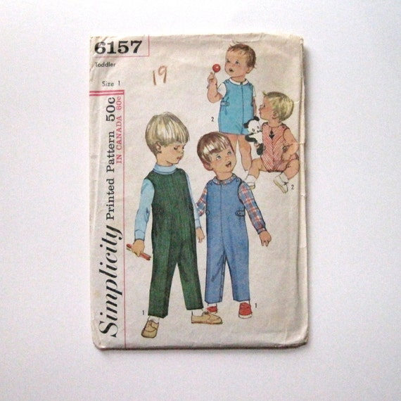 Simplicity 6157 Vintage Sewing Pattern Boys Overalls Size 1T