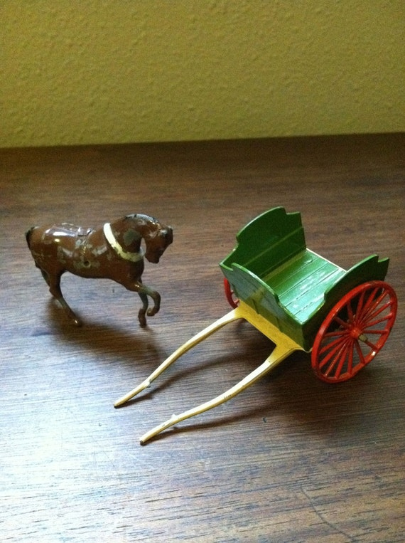 Metal Horse Drawn Cart Toy