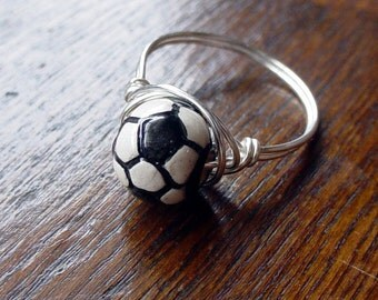 Soccer Ball Wire Wrapped Ring, custom sized