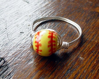 Girl's Softball Wire Wrapped Ring, ceramic bead