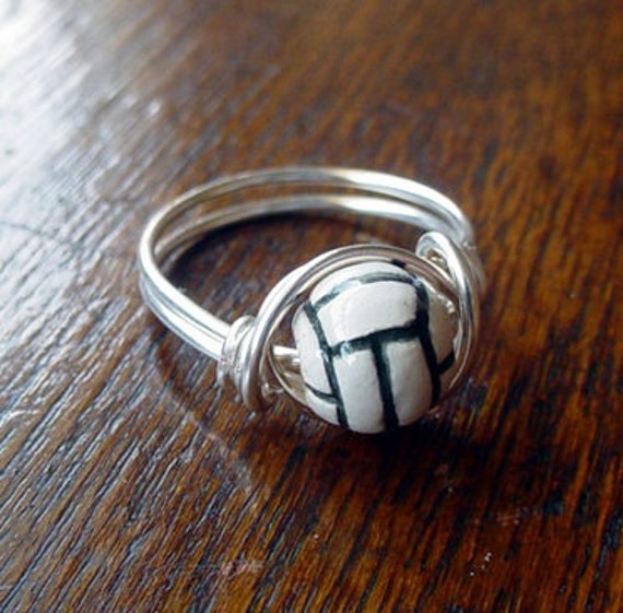 Volleyball Wire Wrapped Ring, ceramic bead, custom size