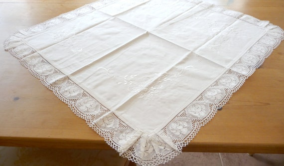 Antique Linen Tablecloth White On White Embroidery Lace Border German