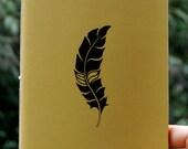 Feather - screen-printed handmade sketchbook / notebook