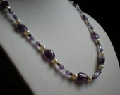Purple Amethyst, Freshwater Pearl, Crystal, and Sterling Silver Necklace and Earrings Set