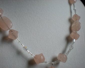 Pale Pink and Crystal and Glass Necklace