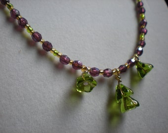 Purple and Subtle Green Glass and Crystal Necklace