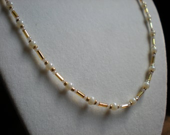 Mini Pearl Necklace with Gold Accents