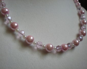 Light Pink Pearl and Crystal Necklace