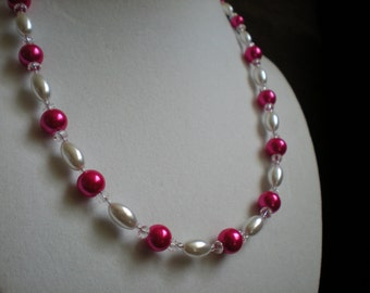Bright Pink and White Crystal Pearl Necklace