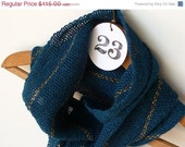 ON SALE Women's Scarf - Teal and Gold Alpaca