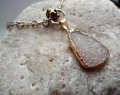 Druzy Quartz Necklace. Gold Framed White Colored Drusy Quartz. Gold and Silver Skull Necklace.