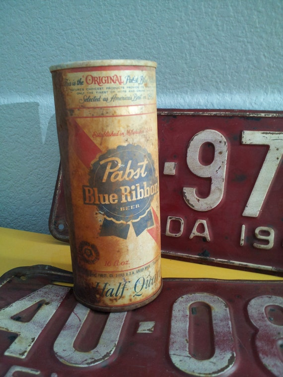 Vintage Pabst Blue Ribbon Beer Can Pull Tab 16fl oz... Great Guy Gift PBR