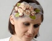 Pink Floral Head Wreath,  Bridal Flower Crown,  Wedding Hair Band,  Flower Headpiece