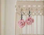 flower earrings on gun metal plated hooks
