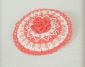 bright orange embroidered felt brooch with flower and lace trim