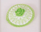 bright green embroidered felt brooch with flower and lace trim
