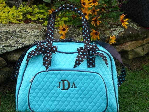 Personalized or monogrammed weekend luggage bag