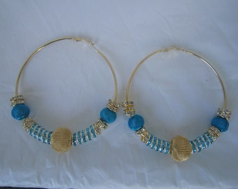 Gold and Turquoise Basketball Wives Earrings