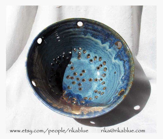 Blue Pottery Colander wheel thrown